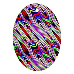 Multi Color Wave Abstract Pattern Oval Ornament (Two Sides)