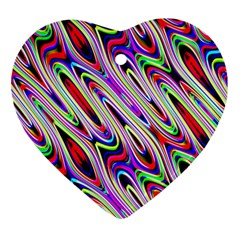 Multi Color Wave Abstract Pattern Heart Ornament (Two Sides)