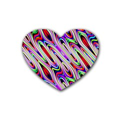 Multi Color Wave Abstract Pattern Rubber Coaster (Heart)
