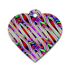Multi Color Wave Abstract Pattern Dog Tag Heart (two Sides)