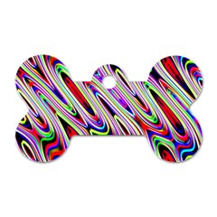 Multi Color Wave Abstract Pattern Dog Tag Bone (two Sides)