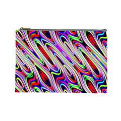 Multi Color Wave Abstract Pattern Cosmetic Bag (large)