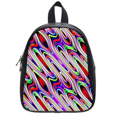 Multi Color Wave Abstract Pattern School Bags (Small)