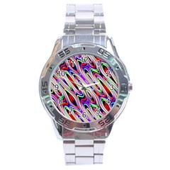 Multi Color Wave Abstract Pattern Stainless Steel Analogue Watch