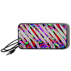 Multi Color Wave Abstract Pattern Portable Speaker (black)