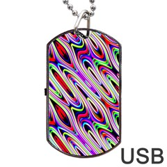 Multi Color Wave Abstract Pattern Dog Tag USB Flash (One Side)
