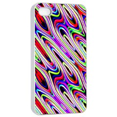Multi Color Wave Abstract Pattern Apple iPhone 4/4s Seamless Case (White)
