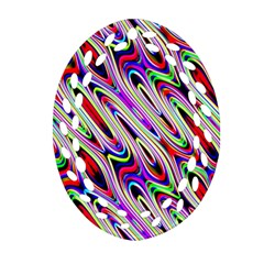 Multi Color Wave Abstract Pattern Oval Filigree Ornament (two Sides)