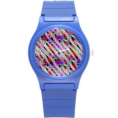 Multi Color Wave Abstract Pattern Round Plastic Sport Watch (S)