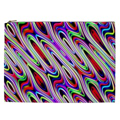 Multi Color Wave Abstract Pattern Cosmetic Bag (XXL)