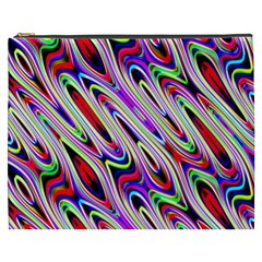 Multi Color Wave Abstract Pattern Cosmetic Bag (XXXL)