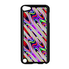 Multi Color Wave Abstract Pattern Apple iPod Touch 5 Case (Black)