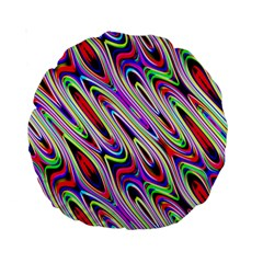 Multi Color Wave Abstract Pattern Standard 15  Premium Round Cushions