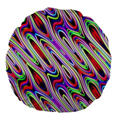 Multi Color Wave Abstract Pattern Large 18  Premium Round Cushions