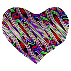 Multi Color Wave Abstract Pattern Large 19  Premium Heart Shape Cushions