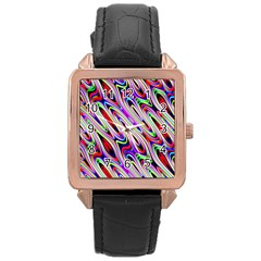 Multi Color Wave Abstract Pattern Rose Gold Leather Watch