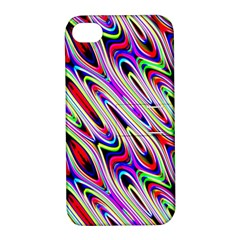 Multi Color Wave Abstract Pattern Apple iPhone 4/4S Hardshell Case with Stand