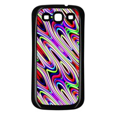 Multi Color Wave Abstract Pattern Samsung Galaxy S3 Back Case (Black)