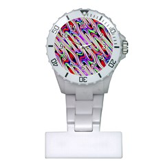 Multi Color Wave Abstract Pattern Plastic Nurses Watch