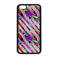 Multi Color Wave Abstract Pattern Apple iPhone 5C Seamless Case (Black)