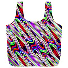 Multi Color Wave Abstract Pattern Full Print Recycle Bags (L)