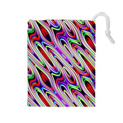 Multi Color Wave Abstract Pattern Drawstring Pouches (Large)
