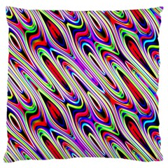 Multi Color Wave Abstract Pattern Large Flano Cushion Case (One Side)