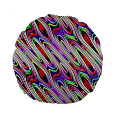 Multi Color Wave Abstract Pattern Standard 15  Premium Flano Round Cushions