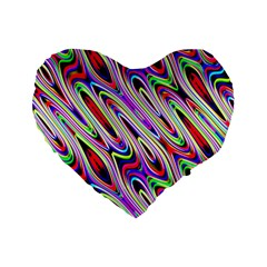 Multi Color Wave Abstract Pattern Standard 16  Premium Flano Heart Shape Cushions