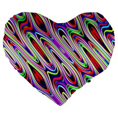 Multi Color Wave Abstract Pattern Large 19  Premium Flano Heart Shape Cushions