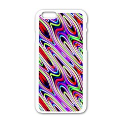 Multi Color Wave Abstract Pattern Apple iPhone 6/6S White Enamel Case
