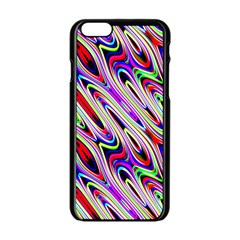 Multi Color Wave Abstract Pattern Apple Iphone 6/6s Black Enamel Case