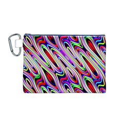 Multi Color Wave Abstract Pattern Canvas Cosmetic Bag (M)