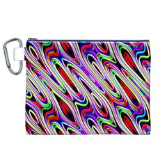 Multi Color Wave Abstract Pattern Canvas Cosmetic Bag (XL)