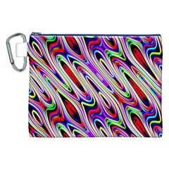 Multi Color Wave Abstract Pattern Canvas Cosmetic Bag (XXL)