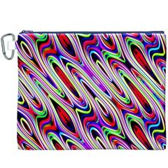 Multi Color Wave Abstract Pattern Canvas Cosmetic Bag (XXXL)