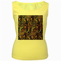 Pattern Color Design Texture Women s Yellow Tank Top