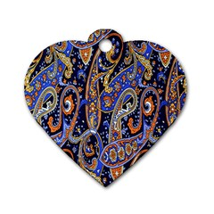 Pattern Color Design Texture Dog Tag Heart (One Side)