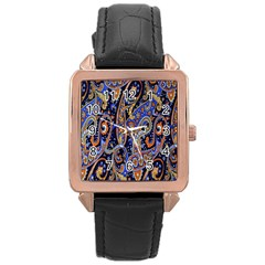 Pattern Color Design Texture Rose Gold Leather Watch
