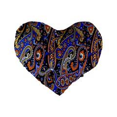 Pattern Color Design Texture Standard 16  Premium Flano Heart Shape Cushions