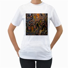 Swirl Colour Design Color Texture Women s T Shirt (white) (two Sided)