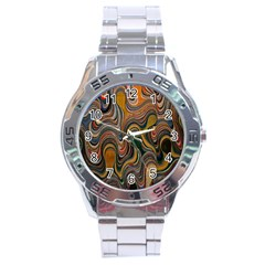 Swirl Colour Design Color Texture Stainless Steel Analogue Watch