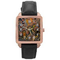 Swirl Colour Design Color Texture Rose Gold Leather Watch