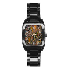 Swirl Colour Design Color Texture Stainless Steel Barrel Watch