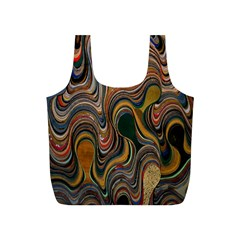 Swirl Colour Design Color Texture Full Print Recycle Bags (S)