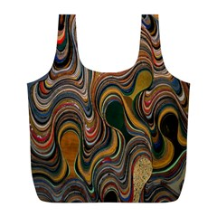 Swirl Colour Design Color Texture Full Print Recycle Bags (L)