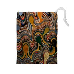 Swirl Colour Design Color Texture Drawstring Pouches (Large)