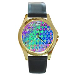 Background Texture Pattern Colorful Round Gold Metal Watch