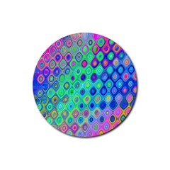 Background Texture Pattern Colorful Rubber Round Coaster (4 pack)