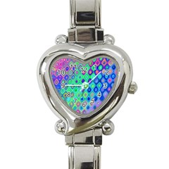 Background Texture Pattern Colorful Heart Italian Charm Watch
